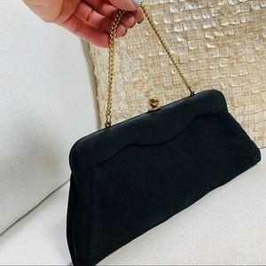 Vintage Bags - VINTAGE Black Clutch With Hidden Strap VGUVC